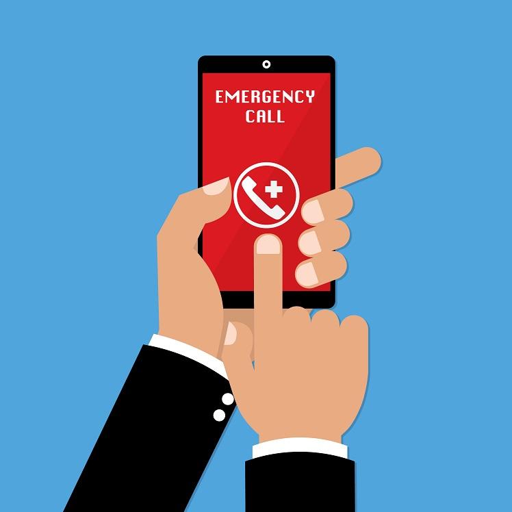 Appel urgence - Téléassistance - Bouton d'appel - Smartphone connecté